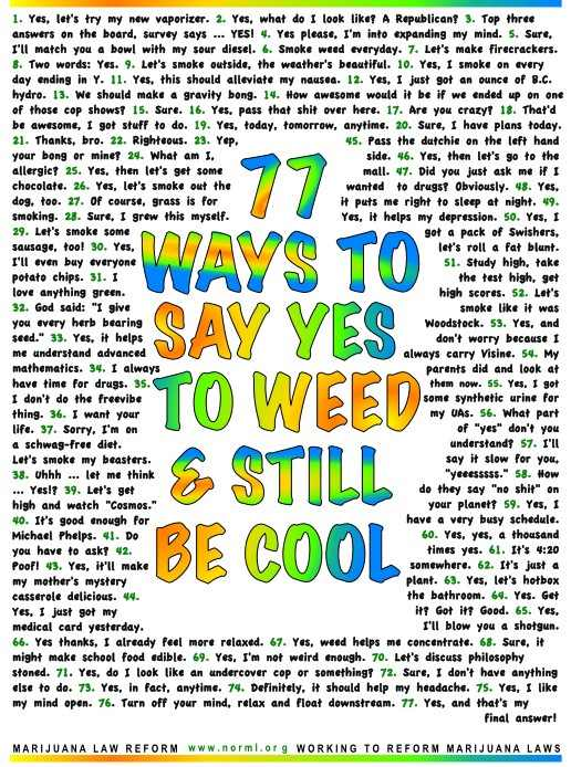 77 ways to say yes to weed and still be cool toke of the