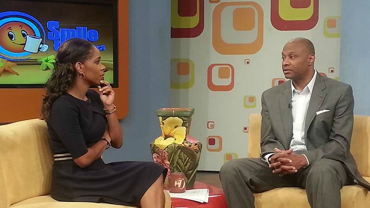 Lance Johnstone during an appearance on Jamaican TV.